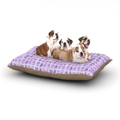 """Marianna Tankelevich 'Cute Birds' Grid Dog Pillow with Fleece Cozy Top Size: Small (40"""" W x 30"""" D x 8"""" H), Color: Purple"""