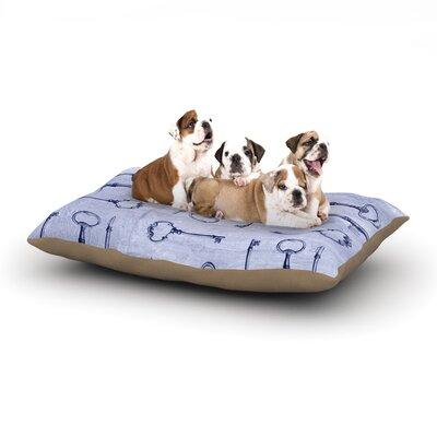 "Marianna Tankelevich 'Secret Keys' Dog Pillow with Fleece Cozy Top Size: Small (40"" W x 30"" D x 8"" H), Color: Aqua/Navy"