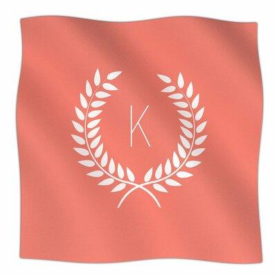 Wreath Monogram Fleece Throw Letter: N