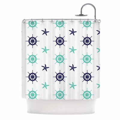 Afe Images Helm Wheel and Starfish Illustration Shower Curtain