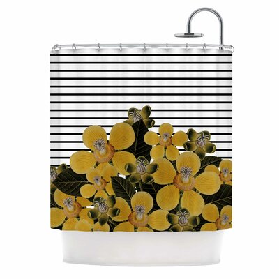 'Spring Pattern Lines Yellow' Mixed Media Shower Curtain