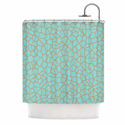 'Staklo' Shower Curtain Color: Aqua/Brown
