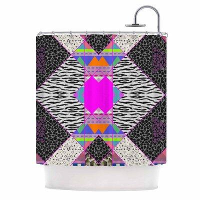 'Zebra Native Pink' Tribal Shower Curtain