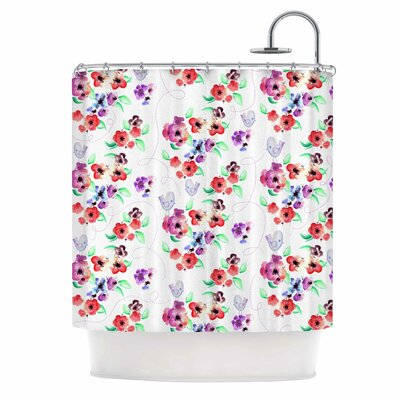 'Spring Flowers and Birds' Shower Curtain Color: White/Red