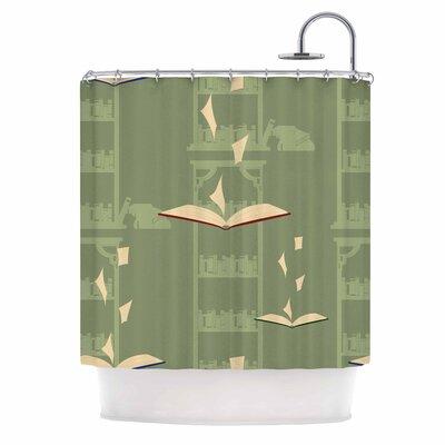 'Library' Digital Shower Curtain