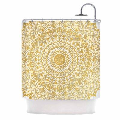 'Boheme Dream Mandala' Illustration Shower Curtain Color: Gold/White