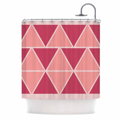 'Triangles' Shower Curtain Color: Pink