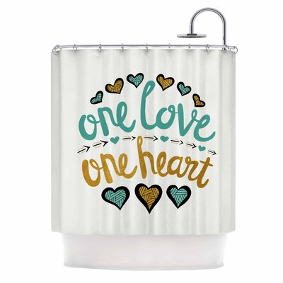 'One Love One Heart' Typography Illustration Shower Curtain