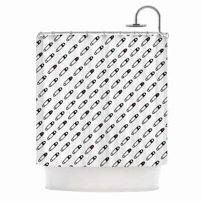 'Heart Safety Pins' Illustration Shower Curtain
