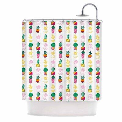 'Succulent Cali Cacti' Illustration Shower Curtain