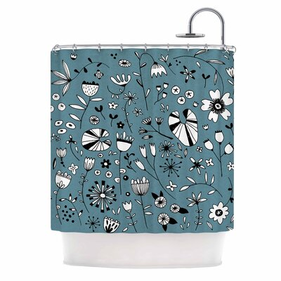 'Etched Flowers' Shower Curtain