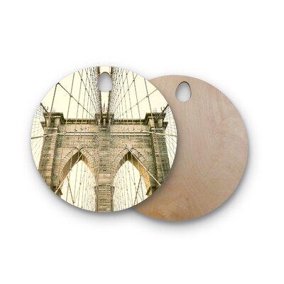 Ann Barnes Birchwood Brooklyn Bridge Sunset Photography Cutting Board Shape: Round