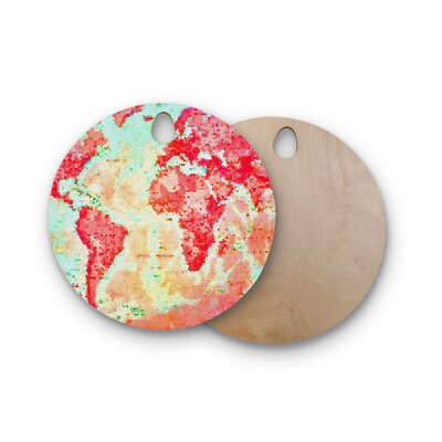 Alison Coxon Birchwood Oh the Places We'll Go World Map Cutting Board Shape: Round