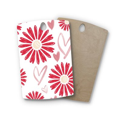 Alison Coxon Birchwood Hearts and Flowers Love Cutting Board Shape: Rectangle