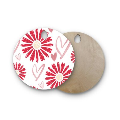 Alison Coxon Birchwood Hearts and Flowers Love Cutting Board Shape: Round
