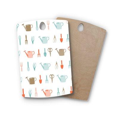 AFE Images Birchwood Gardening Tools Pattern Cutting Board Shape: Rectangle
