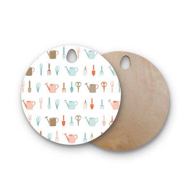 AFE Images Birchwood Gardening Tools Pattern Cutting Board Shape: Round