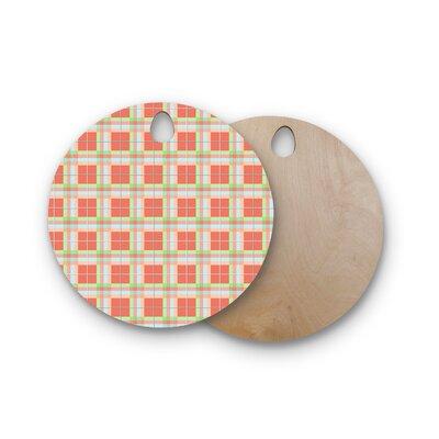 AFE Images Birchwood Summer Plad Pattern Cutting Board Shape: Round