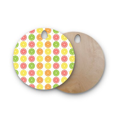 AFE Images Birchwood Citrus Pattern Illustration Cutting Board Shape: Round