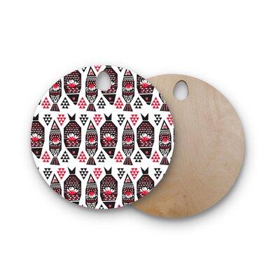 Agnes Schugardt Birchwood Folk Fish Animals Digital Cutting Board Shape: Round