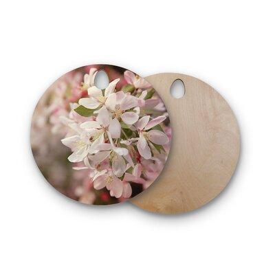 Angie Turner Birchwood Apple Blossoms Flower Cutting Board Shape: Round