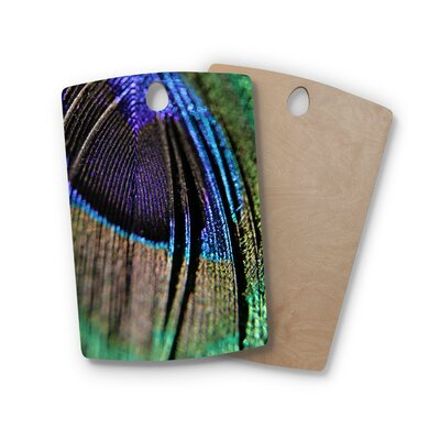 Angie Turner Birchwood Peacock Feather Cutting Board Shape: Rectangle