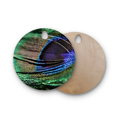 Angie Turner Birchwood Peacock Feather Cutting Board Shape: Round