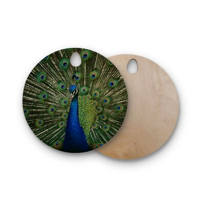 Angie Turner Birchwood Proud Peacock Cutting Board Shape: Round