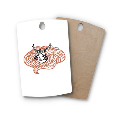 Busy Bree Birchwood Oh Deer Illustration Cutting Board Shape: Rectangle