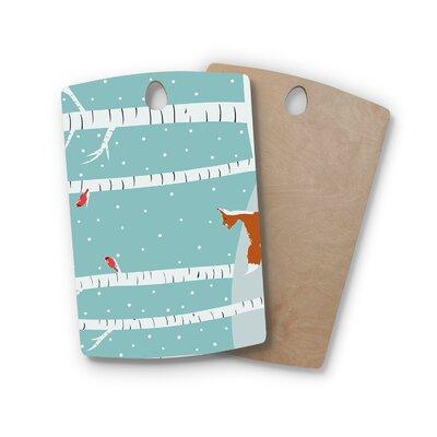 Cristina Bianco Design Birchwood Design Fox Cardinals Winter Kids Cutting Board Shape: Rectangle
