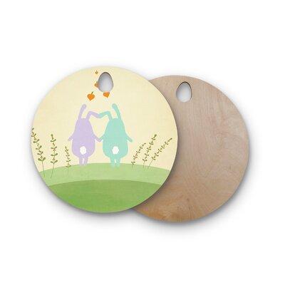 Cristina Bianco Design Birchwood Design Cute Bunnies Cutting Board Shape: Round
