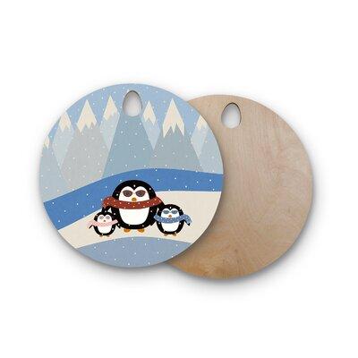 Cristina Bianco Design Birchwood Design Cute Penguins Cutting Board Shape: Round