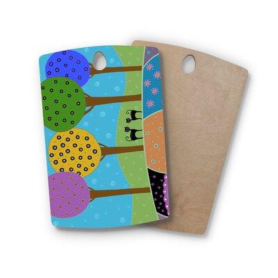 Cristina Bianco Design Birchwood Design Cats and Colorful Landscape Cutting Board Shape: Rectangle