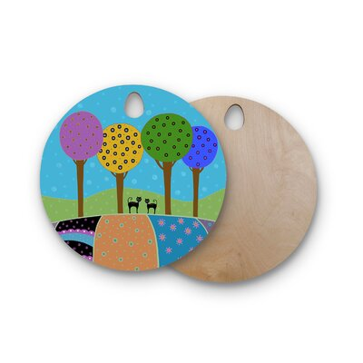 Cristina Bianco Design Birchwood Design Cats and Colorful Landscape Cutting Board Shape: Round
