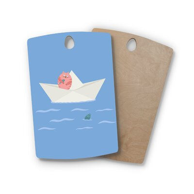 Cristina Bianco Design Birchwood Design Cat and Paper Boat Cutting Board Shape: Rectangle