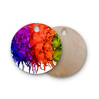 Claire Day Birchwood Rainbow Splatter Cutting Board Shape: Round