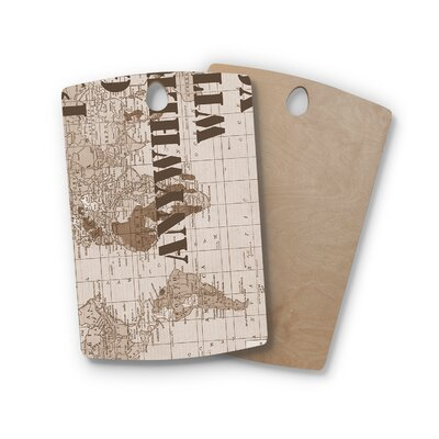 Catherine Holcombe Birchwood I'll Go Anywhere With You Map Cutting Board Shape: Rectangle