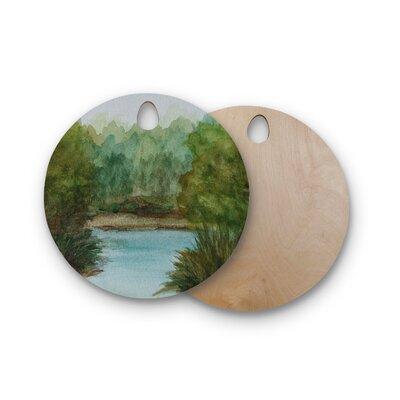 Cyndi Steen Birchwood Lake Channel Watercolor Cutting Board Shape: Round