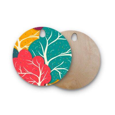 Danny Ivan Birchwood Happy Forest Trees Cutting Board Shape: Round
