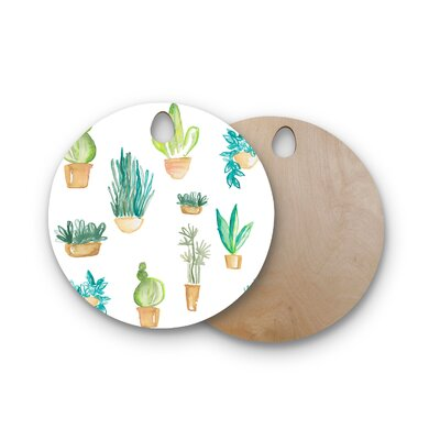 Danii Pollehn Birchwood Plants Cacti Illustration Cutting Board Shape: Round