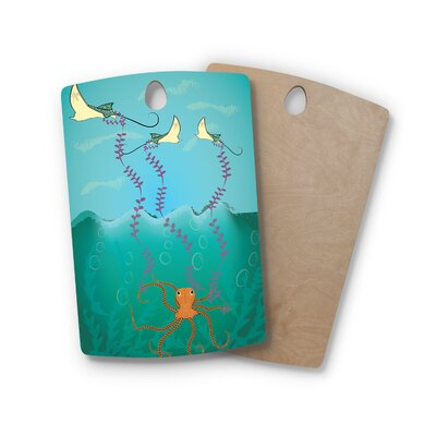 Famenxt Birchwood Octopus Flying Manta Rays Cutting Board Shape: Rectangle