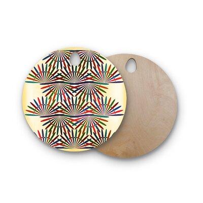 Famenxt Birchwood Abstract Pattern Cutting Board Shape: Round