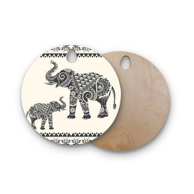 Famenxt Birchwood Ornate Indian Elephant-Boho Cutting Board Shape: Round