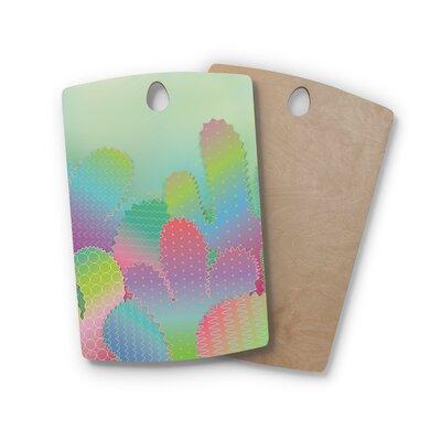 Graphic Tabby Birchwood Ful Cacti Garden Pastel Cutting Board Shape: Rectangle