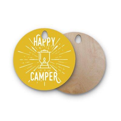 Jackie Rose Birchwood Happy Camper Typography Cutting Board Shape: Round