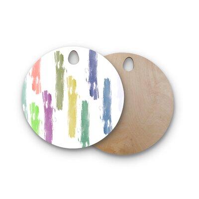 Jennifer Rizzo Birchwood Party Stripes Coral Digital Cutting Board Shape: Round