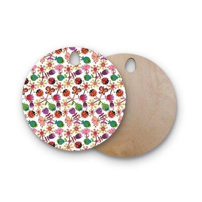 Jane Smith Birchwood Garden Floral Plants Bugs Cutting Board Shape: Round