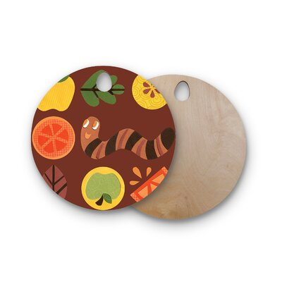 Jane Smith Birchwood Autumn Repeat Bugs Cutting Board Shape: Round