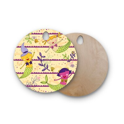 Jane Smith Birchwood Under the Sea Tan Cutting Board Shape: Round