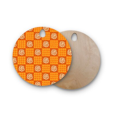 Jane Smith Birchwood Polka Dot Rose Pattern Cutting Board Shape: Round